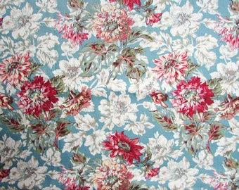 Cotton Fabric, 1 3/4 Yard Older 2004 Cotton Bark Cloth Floral Design Decor Fabric, Red and White Blossoms on Dull Blue Background