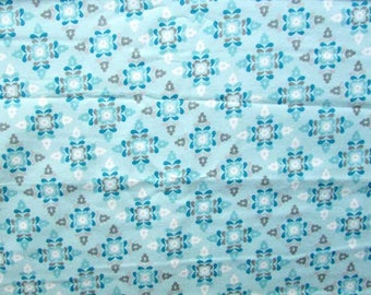 Cotton Flannel Fabric, 1 Yard of Winter Warmth Cotton Flannel Designer Fabric in Robin's Egg Blue Tones ,Sewing, PJ's, Clothing