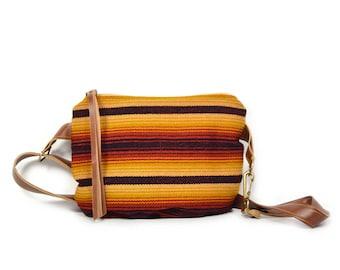 festival pack • fanny pack - sling bag - bum bag • honduran textile - honduras - red and yellow stripe - black waxed canvas