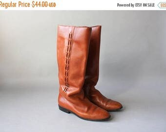 STOREWIDE SALE 1980s Boots / Vintage 80s 90s Brown Leather Riding Boots / Knee High Leather Laced 1990s Boots Flats 9