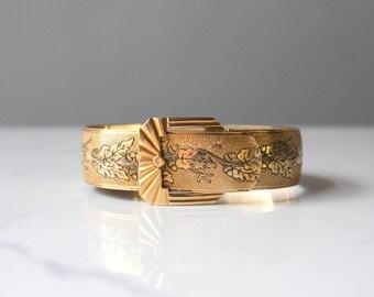 Reserved . . . Edwardian Bracelet / Antique 1900s Buckle Bangle Bracelet / Etched Marsh Acorn Gold Plated Bracelet