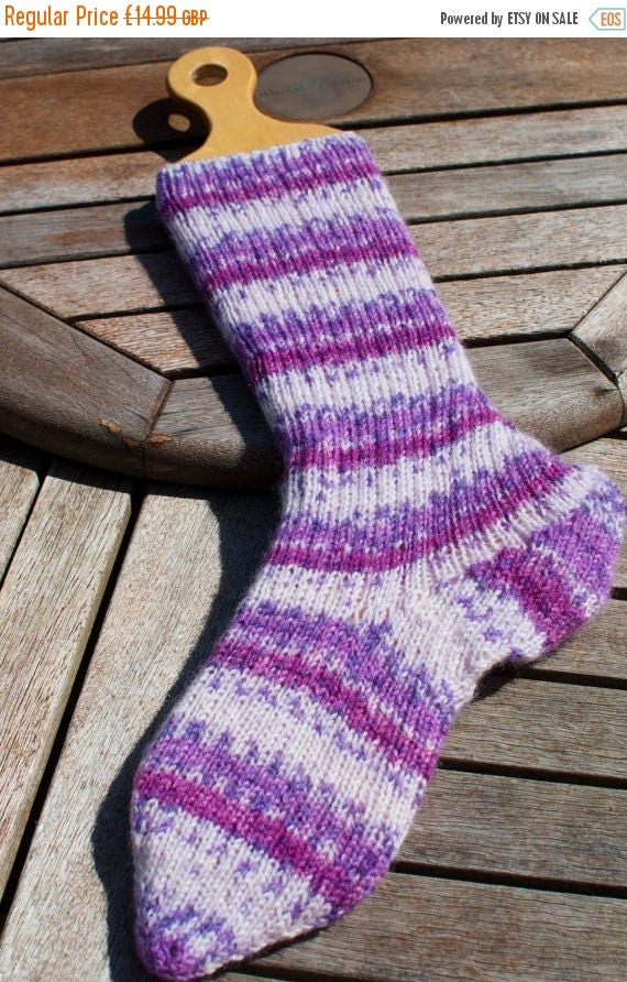 Christmas In July Handknitted Socks in Purple and White