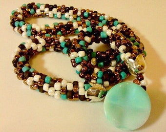 Beautiful Beaded Necklace With Vintage Button Closure