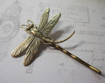 Antiqued Brass Dragonfly Insect Charm Brass Bobby Pin Unique Hair Clip Dragon Fly Garden Gift Updo Hair Accessory Hair Pin Outdoor Wedding