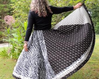 Six Panel, Full Circle, Extra Long, Bohemian Cotton Skirt