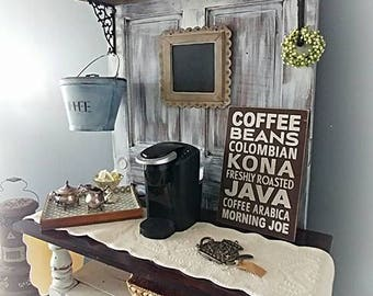 repurposed recycled farmhouse coffee bar wine bar hutch from vintage wood door