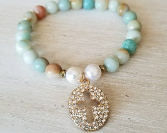 cross bracelet for women, spiritual jewelry, boho jewelry, religious gift, mothers day gift mom gifts from daughter, godmother proposal gift