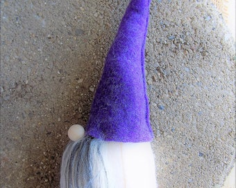 Lavender Woodland gnome, ready to ship, faries, gifts for her, Gnome, forest gnome, tomte, Nordic gnome, wool felt, faux fur, Swedish gnome