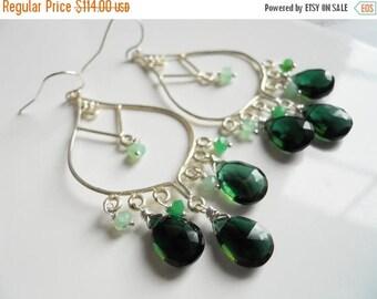 XMAS IN JULY 20% off, Christmas gemstone Chandelier earrings , tourmaline green quartz earrings, chrysoprase, sterling silver, style: meadow