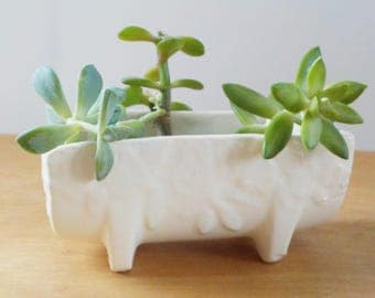 Vintage Nelson McCoy Butterfly Planter • Ivory White McCoy Planter