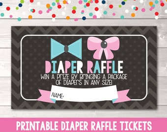 Instant Download Printable Diaper Raffle Tickets Chevron Stripes & Bows Gender Reveal Party or Gender Neutral PDF