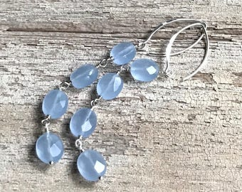 Minimalist Blue Czech Glass Sterling Silver Dangle Drop Earrings, For Her Under 45, US free shipping