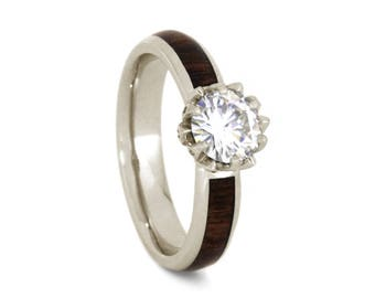 Lotus Flower Engagement Ring With Caribbean Rosewood Band, Moissanite Ring in 14k White Gold, Wood Engagement Ring