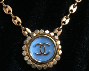 Gold Necklace with Vintage Chanel Button