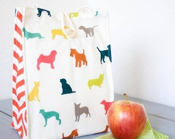 ON SALE Insulated Organic Cotton Lunch Bag -- Colorful Puppy Dogs -- PLASTIC Free!