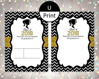Printable Graduation Girl Invitation Black White Gold Glitter 2018 Blank Fill In Template DIY Party Supply Digital Instant Download Set of 2