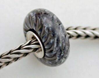 OOAKK  Black and Gray Tabby Cat Fur Bead -  Artisan Glass Bracelet Bead - (AUG-63)