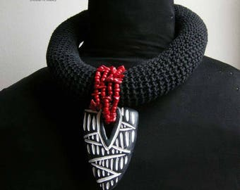 Tribal Crocheted Necklace - Black, Red, White