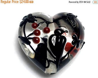 ON SALE 35% OFF Tranquility Vines Heart (Large) - Handmade Glass Lampwork Bead 11830325