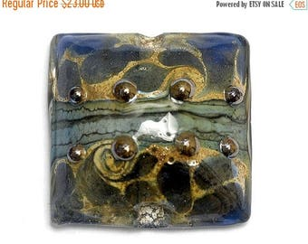 ON SALE 35% OFF Blue Gray w/Silver Foil Pillow Focal Bead 11814104 - Handmade Glass Lampwork Bead
