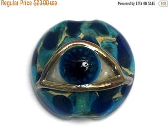 ON SALE 30% off Glass Lampwork Bead  - Blue Eyed Lentil Focal Bead 11830602