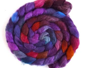 BFL Wool Roving - Hand Painted Spinning or Felting Fiber, Late Winter Sunset
