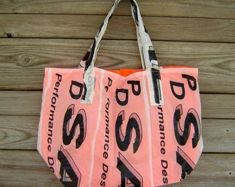 Reusable Market Tote Sabre Parachute Logos lined with Neon Orange