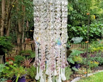 Antique Filigree Crystal Wind Chime, White and Pink Crystal Wind Chime, Garden Decoration, Crystal Art, Garden Art, Pink Crystal Sun Catcher