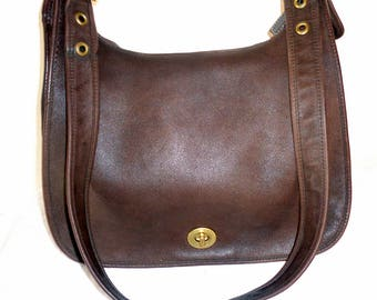 Classic Coach USA Legacy tote saddle bag cross body bag , tote, purse mod 9718 vintage 1991 in brown buttery leather very clean inside out