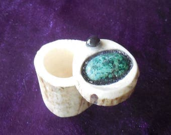 Chrysacolla Carved Shed Elk Antler Box Small Size Cruelty Free Antler Semiprecious Stone Gemstone Inlay OlyTeam