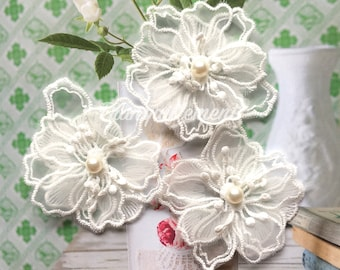 5 Off White Organza 3 Layers Floral Flower Faux Pearl Wedding Cocktail Dress Gown Hair Craft Sew On Appliques Embellishment Decorations