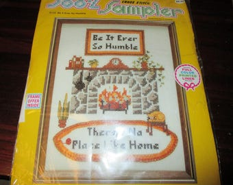 Vintage Embroidery Kit Be It Ever So Humble Soo Z Stamped Cross Stitch Sampler Kit S122 No Place Like Home