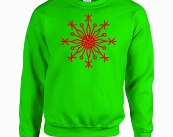 Sequin Snowflake Embroidered Sweatshirt