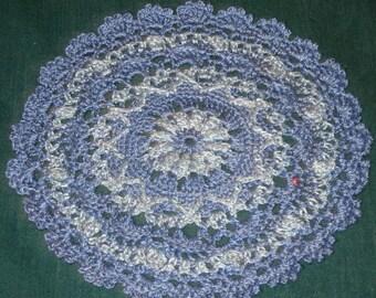 "Crochet Cotton Doily, 7"", Shades of Blue,  Round"