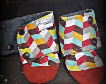 Geo print soft sole boots