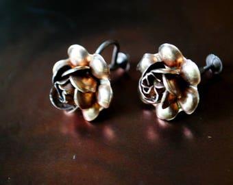 Art nouveau  vintage 30 s, sterling silver, hand made,  raised rose, screw back earrings.