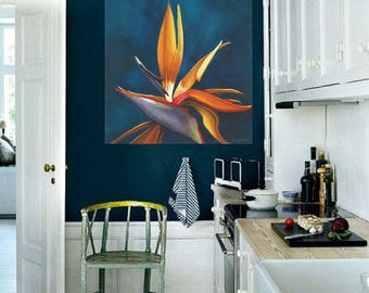 Bird-of-Paradise Flower Painting - Bright Colorful Teal Background Floral Wall Art String Art Oiseau de Paradis