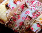 Antique Fabric Scrap Pack, French Fabric, Faded Florals, Shabby Chic Florals, Patchwork, Quilting, Fairy Dresses. Mixed Media, Applique