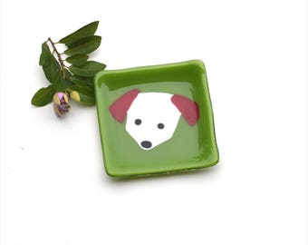 Fused glass art plate, small, square, dog, pet, whimsical, green, dark red white