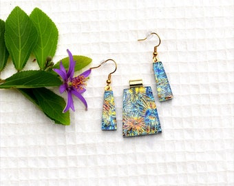 Fused dichroic glass pendant and earring set, three layers, yellow, orange, blue, green, fireworks, starburst