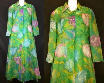 Vintage Green Floral Maxi Dress Long Jacket Misses S M 70s