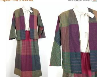 ON SALE Vintage Beige Colorful Plaid Dress Jacket Set Misses M Toni Todd 70s