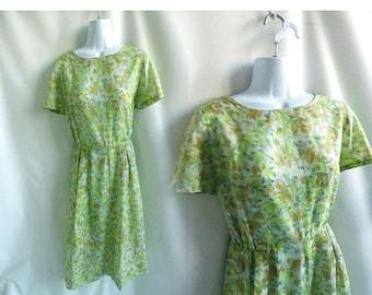 Vintage 60s Dress Size M L Sage Green Taupe Floral Silk Secretary 50s