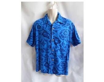 Vintage Hawaiian Shirt Size L Blue Map Plane Cotton Luau 50s 60s Sail boat fish