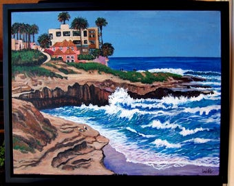 "Original La Jolla Seascape with cliffs Painting 22"" x 28"" on canvas, framed to 24"" x 30"", CA./Linda Kelly/waves/coast"