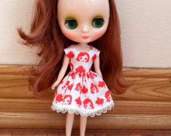 Happy Birthday Canada - Dress for Middie Blythe with matching hair bow