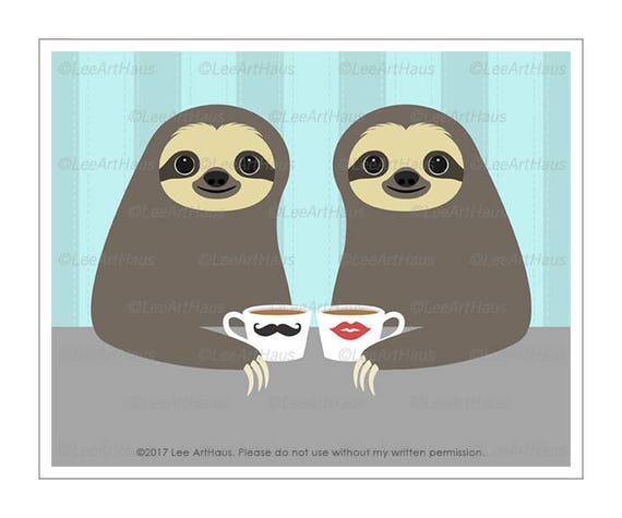 2J Sloth Print - Two Sloths Drinking Coffee Wall Art - Coffee Print - Sloth Lover Gift - Cute Couple Gift - Wedding Gift Idea - Sloth Art
