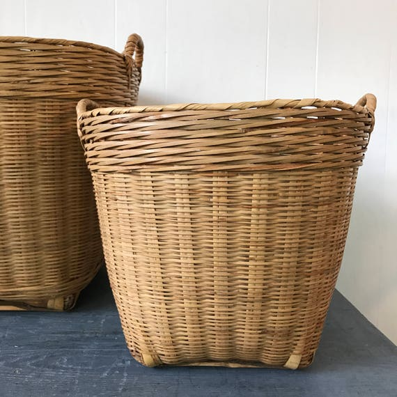 large rattan basket - round woven bamboo home storage - boho beige wicker