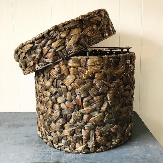 large elephant grass lidded basket - round deep plant basket - chunky weave - brown boho storage
