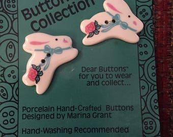 Porcelain Bunny Buttons